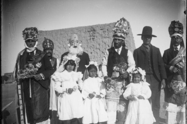 Danzante (Matachin) group, man third from right is Cenovio Avalos, second from right is Francisco Dominguez. Las Cruces or Tortugas, New Mexico.
