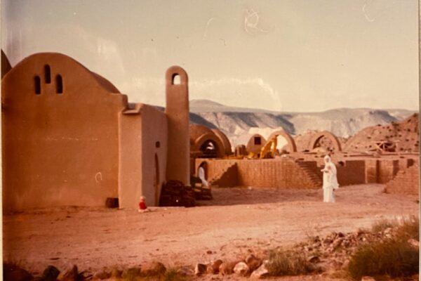 Fatima's family photo of construction at Dar al Islam, in Abiquiu 1