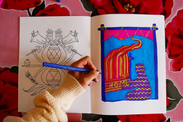 At the Heart of Oga Po'geh Coloring Book created by Story Maps Fellows Diego and Christian